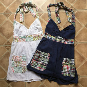TWO! Lucy Love Halter Tops, Patchwork, sz S
